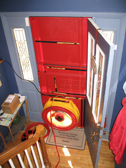 Blower door test for Bentonville homes